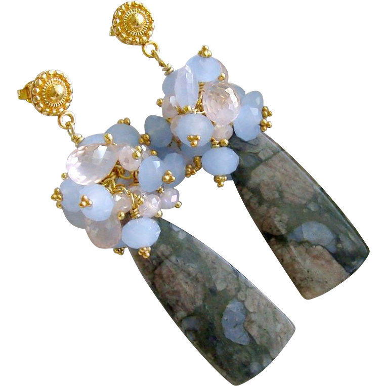 Blue Rhyolite, Periwinkle Blue Chalcedony & Rose Quartz Cluster Earrings - Jillie Earrings