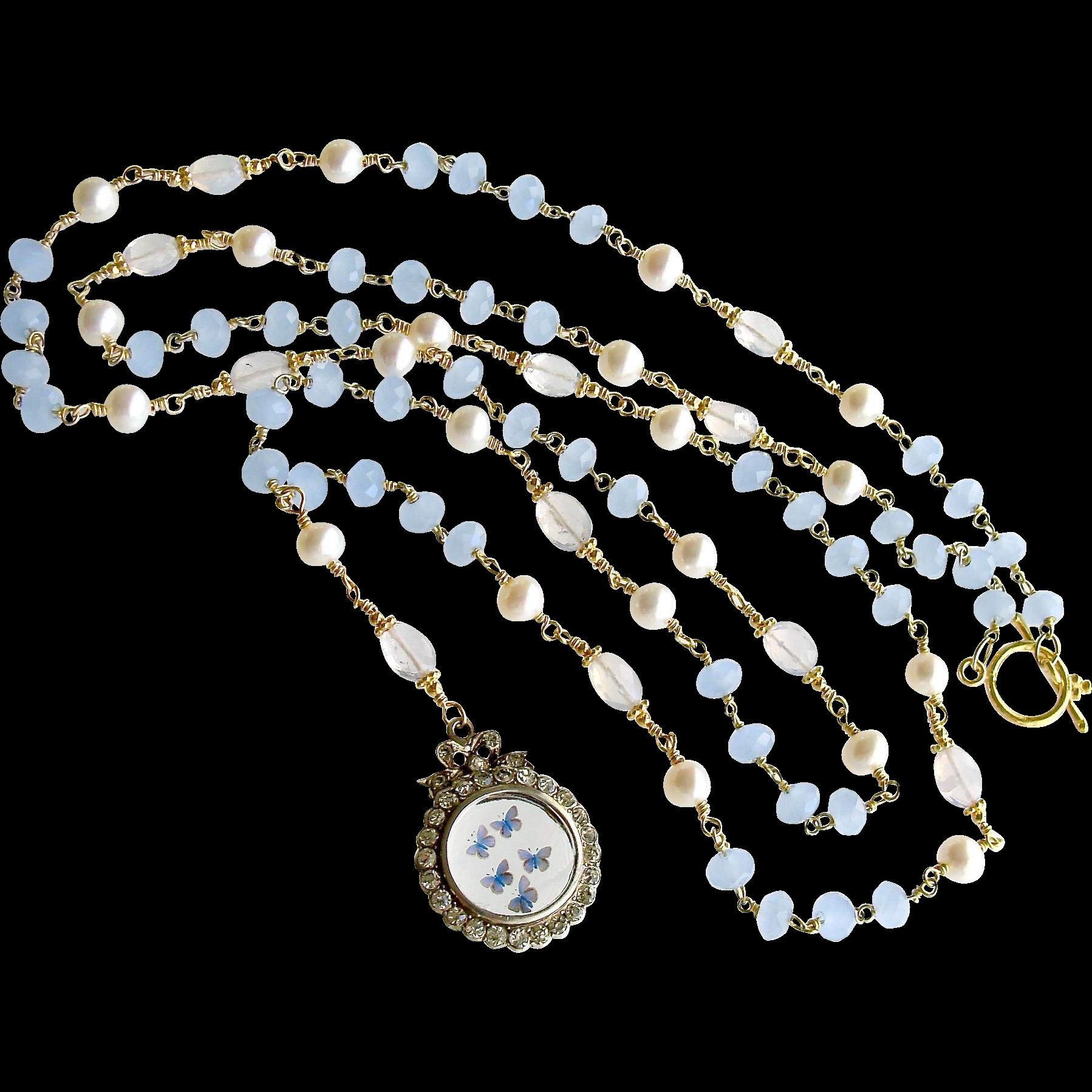 Butterfly Kaleidoscope Heirloom Silver Paste Locket Blue Chalcedony Scorolite Necklace - Kaleidoscope de Papillon II Necklace