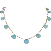 Carved Aquamarine Shells Cultured Seed Pearls Choker Necklace - Les Coquilles de la Mer Necklace