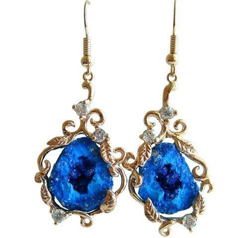 Blueberry Azurite Geodes Diamonds 14k Gold Earrings - Lori Earrings