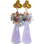 Lavender Chalcedony Cluster Earrings - Lorenia Earrings