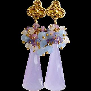 Lavender Chalcedony Cluster Earrings - Lorenia Earrings