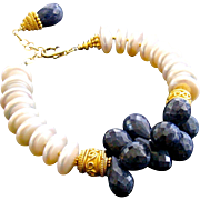 Blue Sapphire Cultured Coin Pearl Bracelet - Loretta III Bracelet