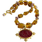 Faceted Citrine Ametrine Intaglio Choker Necklace - Lecce II Necklace
