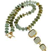 Green Moss Aquamarine  Venetian Glass Intaglio Choker Necklace - Lissone II Necklace