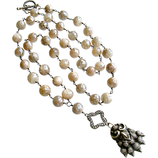 Champagne Mystic Moonstone Heirloom Sterling Lion's Paw Amulet Necklace - Lynnette Necklace