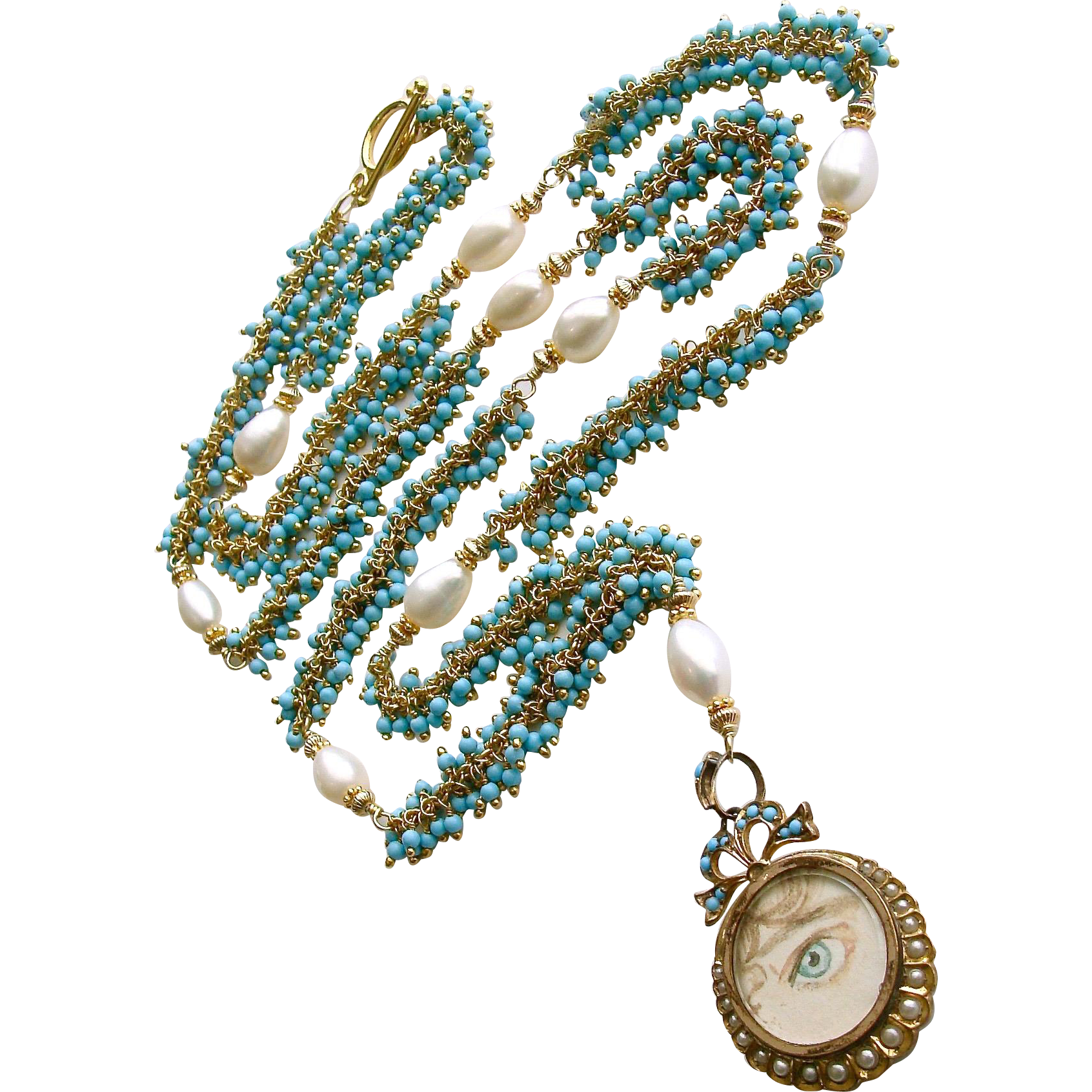 Lover's Eye Locket Turquoise Cultured and Natural Pearls Necklace - Lilah Necklace