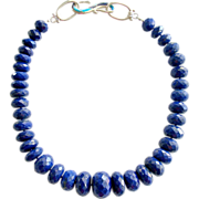 Luxe Lapis Choker Necklace Turquoise Opal Inlay Toggle - Lark Necklace