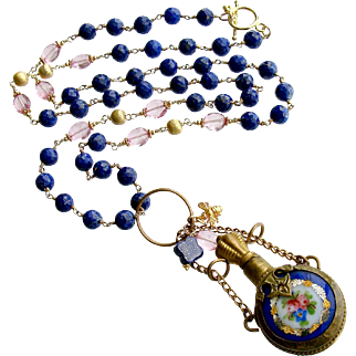 Lapis Porcelain Chatelaine Scent Bottle Necklace - Lillian Necklace