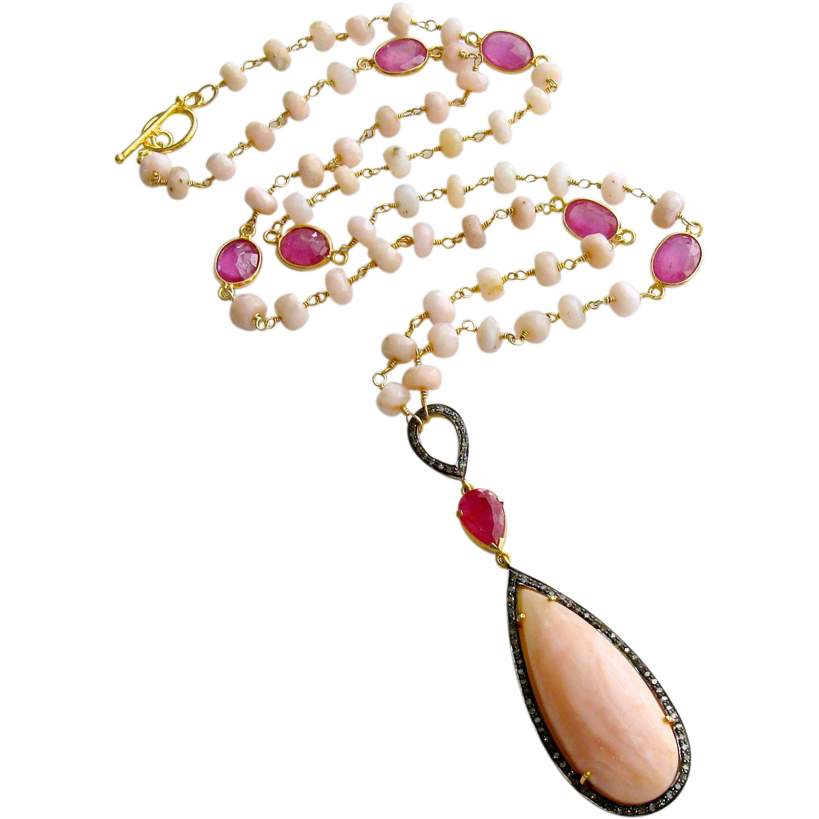 Peruvian Pink Opal Pink Sapphire Diamonds Necklace - Lisette Necklace