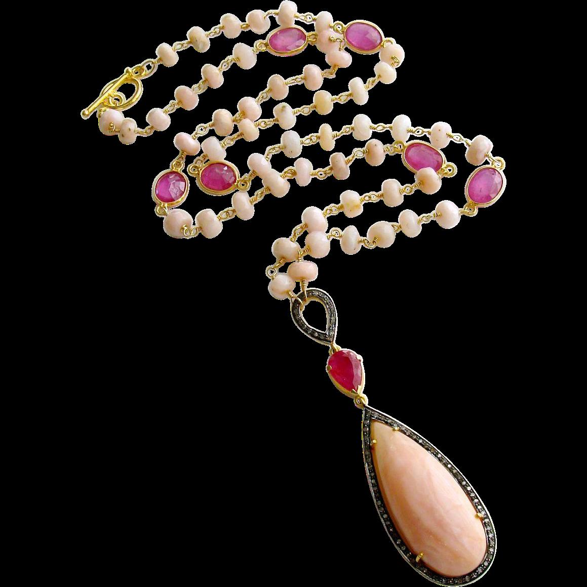 Peruvian Pink Opal Pink Sapphire Diamonds Necklace - Lisette Necklace