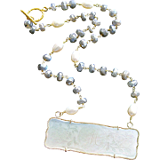 "Mother-of-Pearl ""M"" Monogram Gaming Counter Mystic Labradorite Necklace - L'offre III Necklace"
