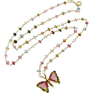 18K Gold Pink Green Watermelon Tourmaline Butterfly Necklace - Le Papillon VI Necklace