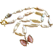 Pink Biwa Cultured Pearls 14k Gold Pink Tourmaline Butterfly Necklace - Le Papillon Cultured Pearls Necklace