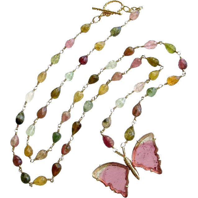18K Gold Pink Mint Green Watermelon Tourmaline Butterfly Necklace - Le Papillon VII Necklace
