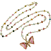 18K Gold Pink Green Watermelon Tourmaline Butterfly Necklace - Le Papillon X Necklace
