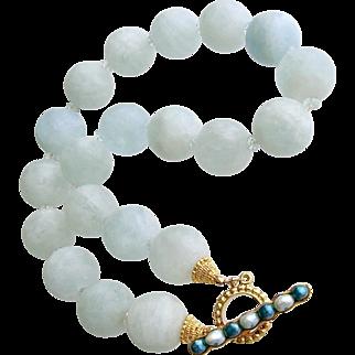 Matte Aquamarine Choker Necklace - Les Tresors de la Mer Necklace