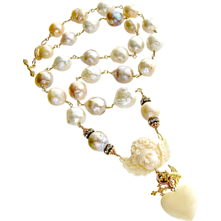 Multi Color Baroque Cultured Pearls Cherub Necklace - Mon Ange Chéri Necklace