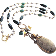 Green Onyx Freshwater Cultured Pearls Heirloom Chatelaine Scent Bottle Necklace - Maurelle Necklace