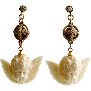 White Topaz Neo Classical Pyrite EcoIvory Cherub Earrings - Mon Petite Cherubim Earrings