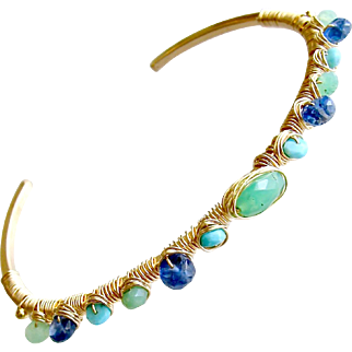 Chrysoprase Turquoise Kyanite Hand Wrapped Cuff Bracelet - Morgaine Stacking Bracelet
