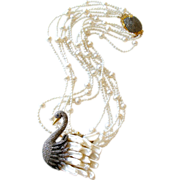 Freshwater Cultured Pearls Diamond Swan Pendant Torsade Necklace - Odette Necklace