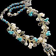 Turquoise Pyrite Cultured Pearls Pajaritos Pendant Necklace -  Pajaritos Flora Necklace