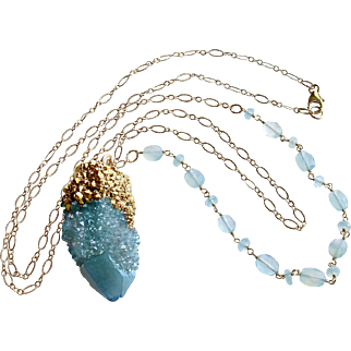 Aqua Chalcedony Spirit Quartz Pendant Layering Necklace - Pixie Necklace