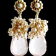 Rose Quartz Cultured Seed Pearl Cluster Earrings - Pétales de Rose III Earrings