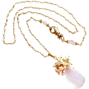 Rose Quartz & Cultured Button Pearls Heirloom Hand Clasp Necklace - Pétales de Rose III Necklace