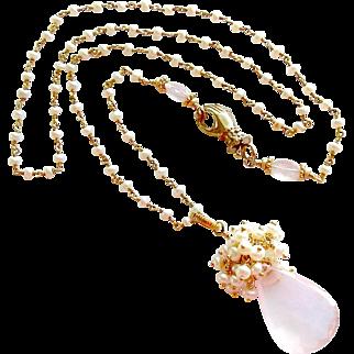 Rose Quartz & Cultured Button Pearls Heirloom Hand Clasp Necklace - Pétales de Rose III Necklace