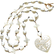Baroque Freshwater Cultured Pearls Carved Mother of Pearl Queen Bee Heart Necklace - Quenby Necklace