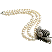 Bumble Bee Clasp Cultured Pearls Bracelet - Reine des Abeilles Bracelet