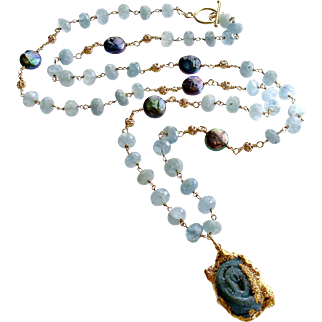 Aquamarine Cultured Coin Pearls Chalcedony Rose Druzy Pendant Necklace - Roisin Layering Necklace