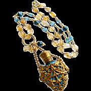 Citrine Nuggets Apatite Cartouche Chatelaine Scent Bottle Necklace - Rosalie Necklace