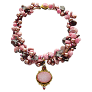 Rhodochrosite Garnet Pearls Necklace Druzy Pendant