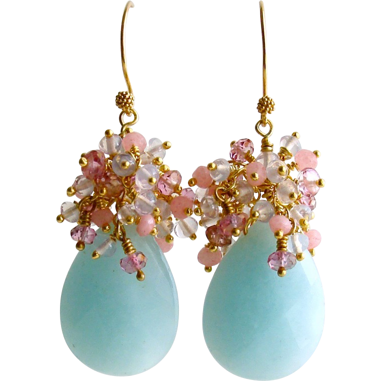 Amazonite Lavender Opal Quartz Pink Topaz Pink Quartz Cluster Earrings - Seraphine Earrings