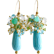 Turquoise Dyed Stone Opal Apatite Prasiolite Blue Topaz Chrysoprase Cluster Earrings - Summer Earrings