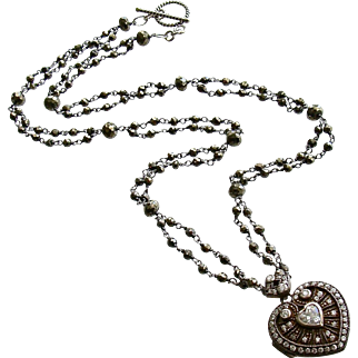 Silver Paste Heart Vinaigrette Layering Necklace Pyrite – Saint Esprit II Heart Necklace