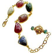 Multicolored Sapphire Slices Adjustable Bracelet - Suzie III Bracelet