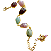 Multicolored Sapphire Slices Adjustable Bracelet - Suzie IV Bracelet