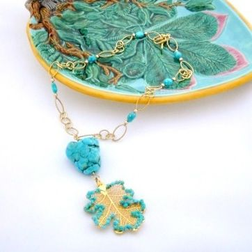 Stabilized Turquoise Garnished Leaf Necklace