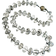Luxe Tourmilated Quartz Polki Diamond Clasp Matinee Necklace - Tessa Necklace