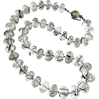 Luxe Tourmilated Quartz Polki Diamond Clasp Matinee Necklace - Tessa Necklace