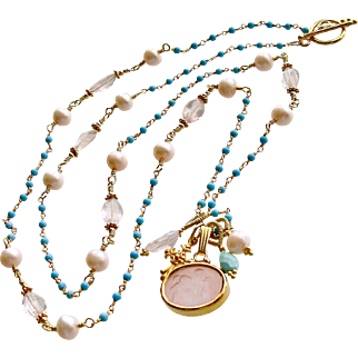 Sleeping Beauty Turquoise Rose Quartz Venetian Glass Intaglio Necklace - Treia Necklace