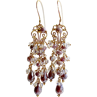 Lavender Silverite Opal Moon Quartz (Glass) Chandelier Earrings - Veronique Chandelier Earrings