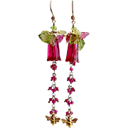 Carved Hot Pink Glass Pink Sapphire Peridot Lemon Quartz Leaves Bee Flower Earrings - Veronica's Garden Earrings