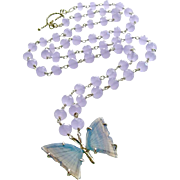 Violet Chalcedony Necklace Lavender Agate Butterfly Pendant - Violet Mariposa Necklace