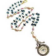 London Blue Topaz Pink Sapphire Lover's Eye Necklace - Veronica Necklace