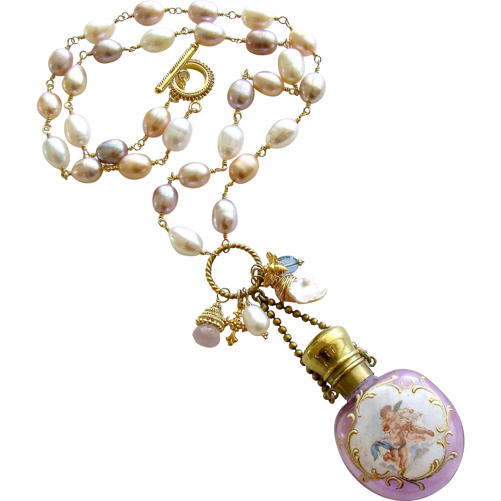 Pink Cultured Baroque Pearls Cherub Chatelaine Scent Bottle Necklace - Violetta Necklace